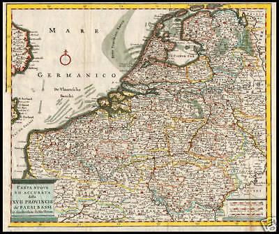 Olanda Cartina Politica.Carta Geografica 1700 Province Paesi Bassi Olanda Ebay
