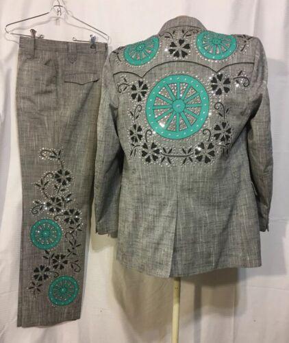 Men's BA Designs Western Swing Rhinestone Nudie Su