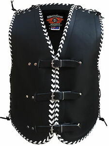 MENS-MOTORCYCLE-CLUB-BUCKLE-VEST-3MM-THICK-COWHIDE-LEATHER-BLACK-AND-WHITE