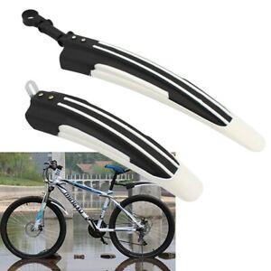 Mountainbike-Fahrrad-Radfahren-vorne-hinten-Kotfluegel-Schwarz-und-Weiss-X5A8