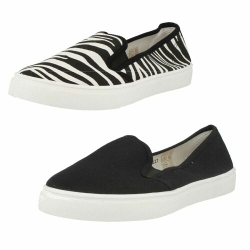 SPOT ON LADIES SLIP ON ROUND TO CASUAL EVERYDAY FLAT CANVAS SUMMER SHOES F8R0027