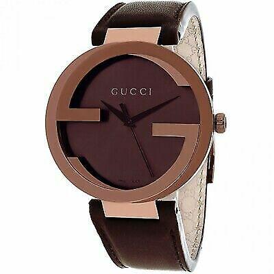 c95b6f8329e Tags Gucci Interlocking Brown Leather Ladies Watch YA133207 Ya133309 for  sale online
