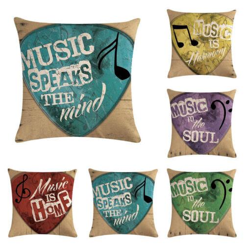 Guitar Pick Linen Cotton Fashion Throw Pillow Case Cushion Cover Home Sofa Decor