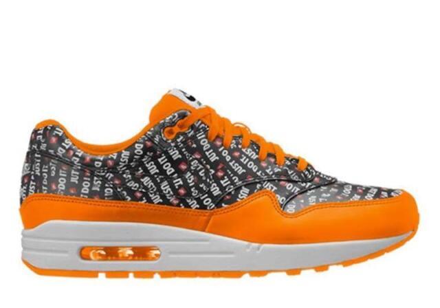 huge discount 73cda 26170 Nike Air Max 1 Premium Just Do It Mens 875844-008 Black Orange Shoes ...
