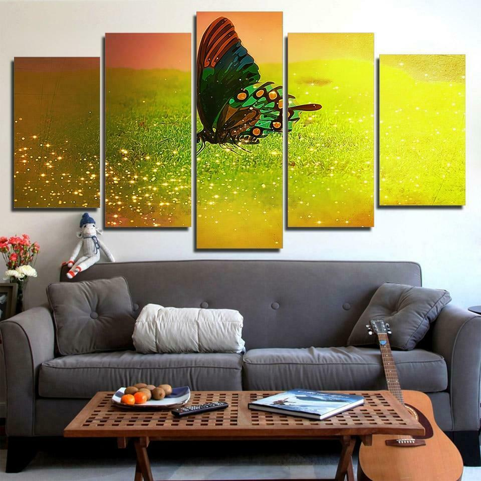 Fantasy Glitter Butterfly 5 panel canvas Wall Art Home Decor Print Painting