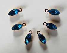 VINTAGE 6 NAVETTE MARQUISE BEADS BRASS SET • 8x4mm • Ruby Red, Capri Blue, Clear