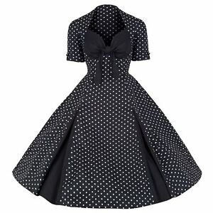 ROCKABILLY-50s-BLACK-WHITE-POLKA-DOT-VINTAGE-STYLE-PIN-UP-SWING-PROM-DRESS-8-20
