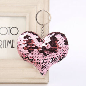 Cartoon-Couple-Sequins-Lover-Keychain-Shiny-Accessories-Heart-shaped-Chain-GR