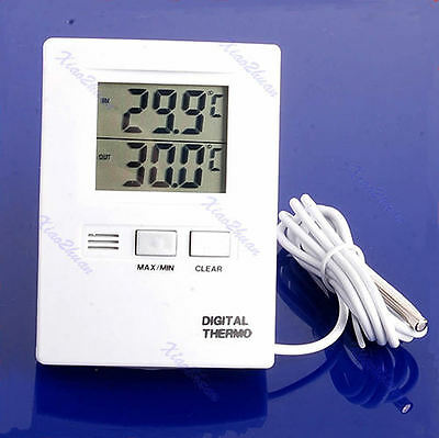 Digital LCD Indoor And Outdoor Thermometer Temperature Meter White