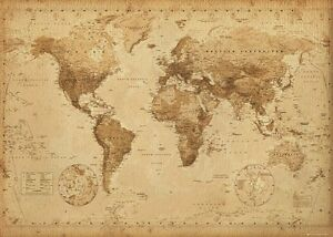 Antique Map Of World.New Map Of The World Old Antique Vintage Style Poster 61x91cm