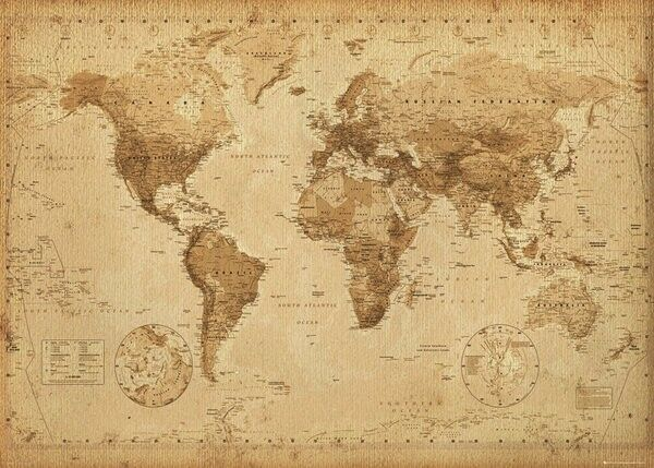 WORLD MAP VINTAGE ANTIQUE STYLE POSTER (61x91cm)  PICTURE PRINT NEW ART