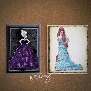 2011/2012 Disney Designer Princess Ariel Little Mermaid & Ursula Note Cards