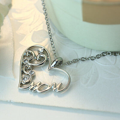 """""""Mom"""" Charm Silver Rhinestone Heart Pendant Necklace Love Mother's birthday Gift"""