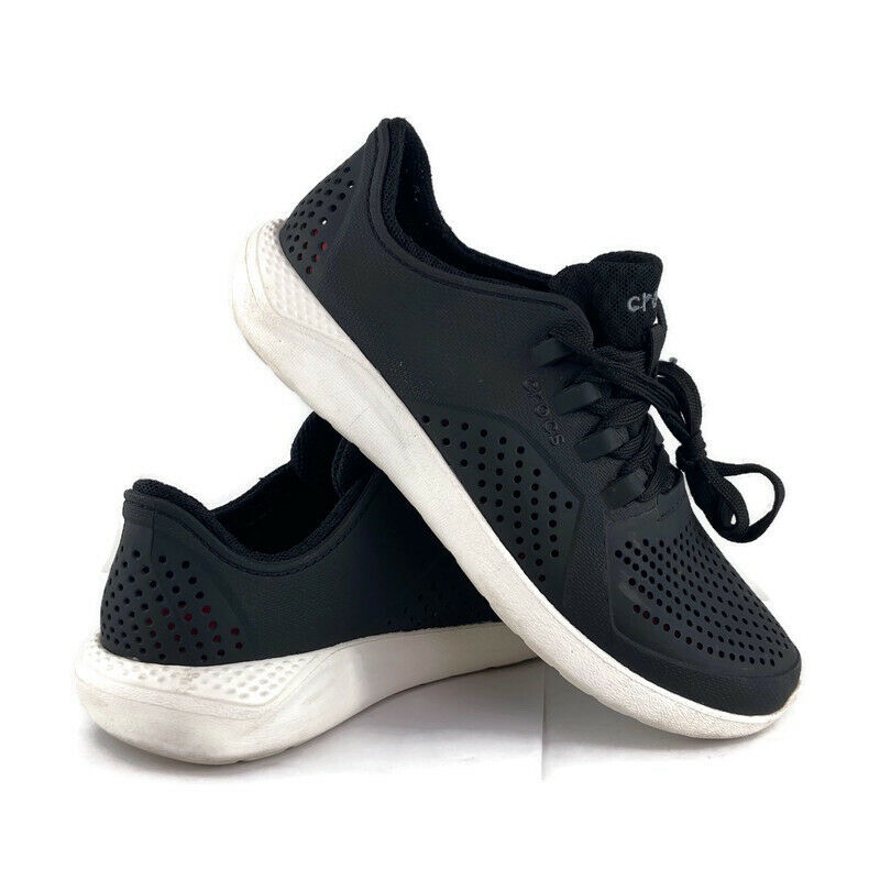 Crocs Women's LiteRide Pacer Comfort Sneaker Shoes Lace Up Black 205234 Size 6