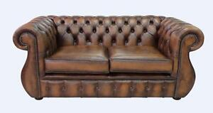 c84b6469024e Image is loading Chesterfield-Kimberley-2-Seater-Antique-Tan-Leather-Sofa-