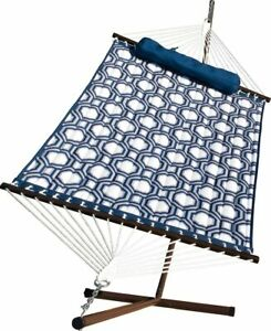 Algoma 6291WL Quilted Hammock and Stand Combination, 275 lbs. Cap /11' L, Blue