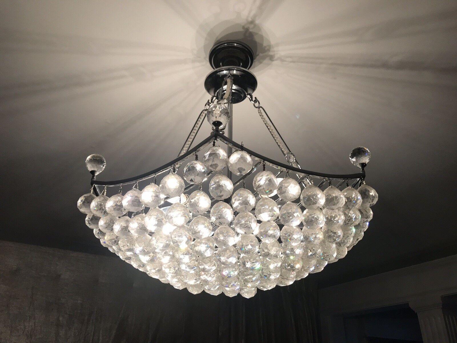 "Crown Crystal Chandelier Light 24"""