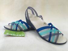 Crocs Women's Huarache Mini Wedge Wedges Sandals Navy Aqua SIZE 10 NWT