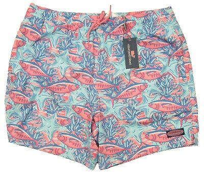 Vineyard Vines Men/'s Moonshine Blue School Of Tuna Graphic Chappy Swim Trunks