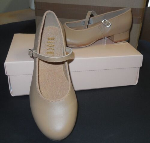 "Bloch SO302 Leather Tap On Tan 1/"" Heel Techno Taps Girls Ladies New N BOX"