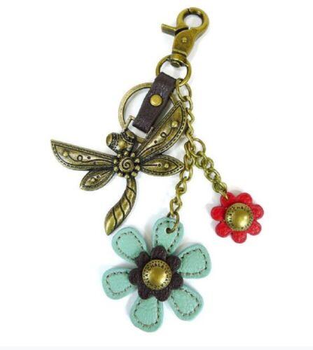 Chala Dragonfly with Flowers Charming Key Chain Purse Bag Fob Charm