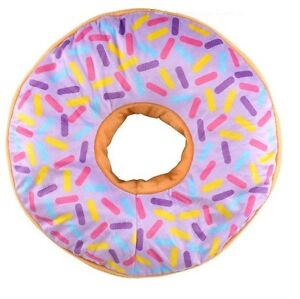 PURPLE-icing-glazed-Donut-16-inch-throw-pillow-doughnut-sprinkles-blue-pink-red