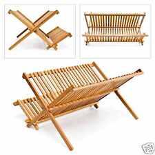 Madera de Bambú escurreplatos Platos Rack Stand Cutlery soporte Utensilio Secador
