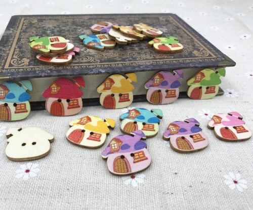 Hágalo usted mismo los botones de dibujos animados de Madera Casa de Costura Botones Scrapbooking de hongos 25mm