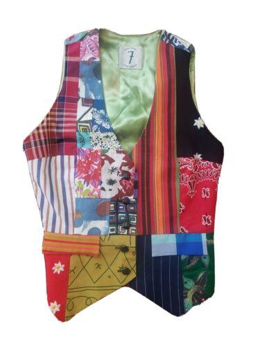 TODD OLDHAM 1994 Patchwork Vest Medium Multicolor