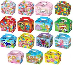 Details About Party Food Boxes Loot Lunch Cardboard Childrens Kids Happy Birthday Girls Boys