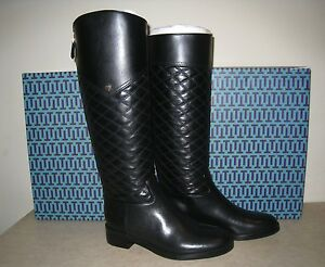 Tory Burch Claremont Tall Boot Quilted Leather Black Size 8.5 ... : tory burch quilted boots - Adamdwight.com