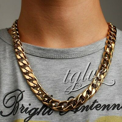 15mm 18K Gold 316L Stainless Steel Heavy Curb Cuban Chain Mens Boys Necklace