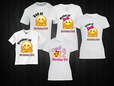 Emoji Birthday Girl Family Matching T Shirt
