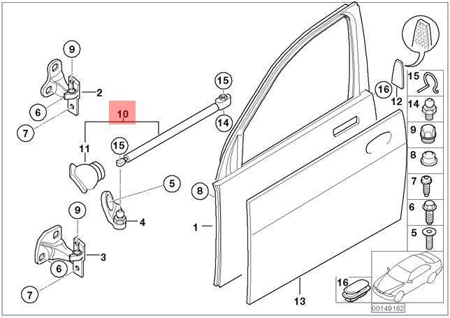 Genuine BMW E65 E66 Saloon Driver Door Check Left Front OEM 51217112443