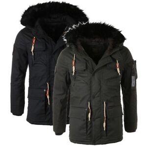 Details zu Khujo Herren Winter Jacke Parka Trot warm gefüttert Kunstfell Kapuze 2272JK183