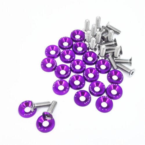 20pcs Purple Billet Aluminum Fender Bumper Washer Engine Bay Dress Up Kit
