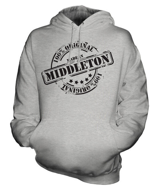 MADE IN MIDDLETON UNISEX HOODIE MENS WOMENS LADIES GIFT CHRISTMAS BIRTHDAY 50TH