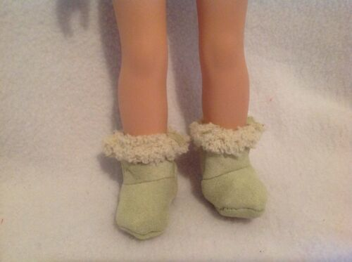 """Fit Wellie Wishers American Girl fuzzy green boots shoes winter 14/"""" doll clothes"""