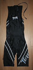 NEW TYR WOMEN'S Black TORQUE LITE Back Zip Shortjohn Kneeskin Swimskin - SMALL