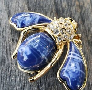 Joan-Rivers-Bee-Blue-Marble-Enemal-Pin-Crystal-Green-Eyes-Goldplate-Brooch