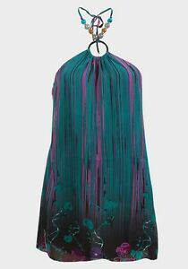 Womens-Halterneck-Tunic-Top-Size-M-New-Ladies-Teal-Green-multi-coloured-print