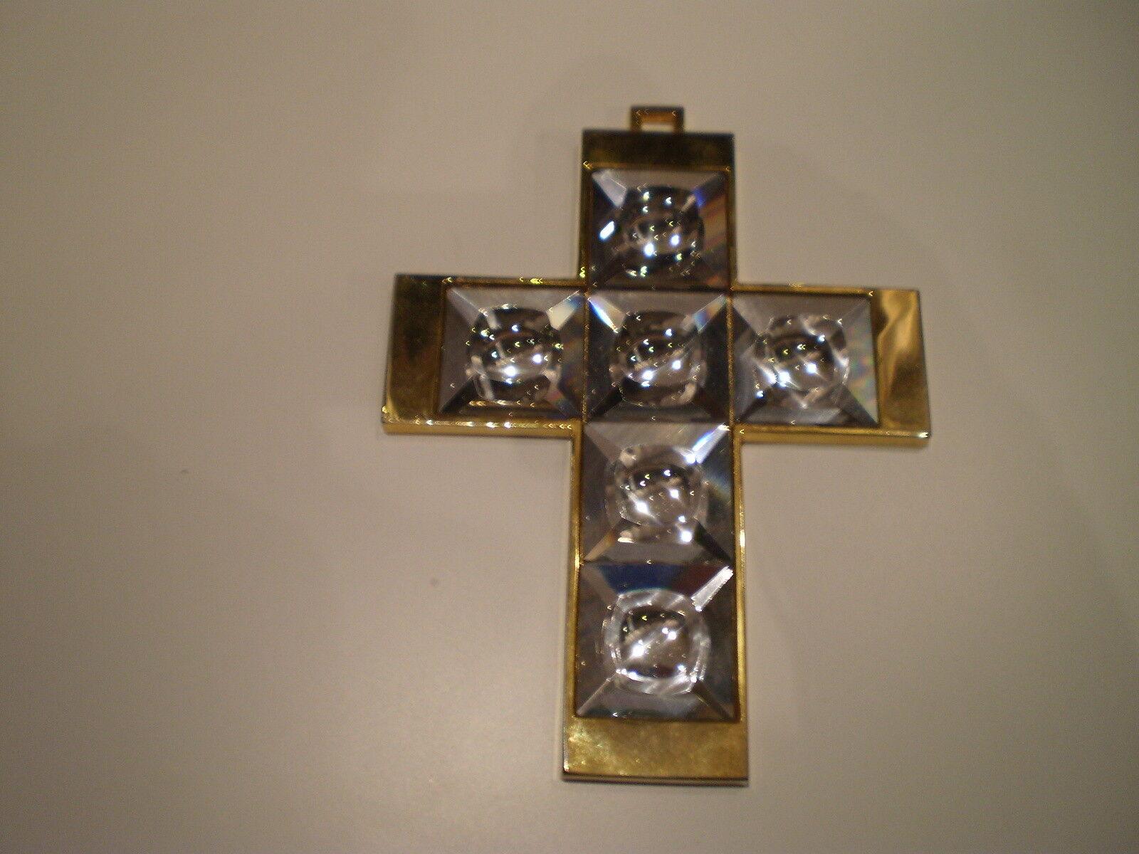 5. Poliertes Messing Kreuz mit Swarovski  Vienna Crystal -Facetten geschliffen