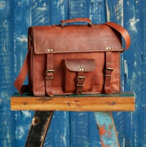 Fair-Trade-Handmade-Large-Brown-Vintage-Leather-Satchel-2nd-Quality