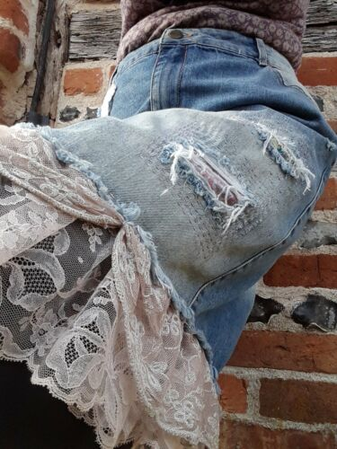 Floral Lace laceri Jeans Ditsy di Vintage riciclati jeans Ooak Gonna Designer vxAOSqH8w