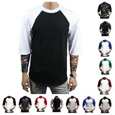 Men T Shirt Baseball 3/4 Sleeve Crew Neck Sports Outdoor Hipster Jersey Raglan