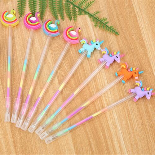 6pcs Cute Kawaii Rainbow Swan Horse Gel Ink Roller Ball Point Pen School Kids