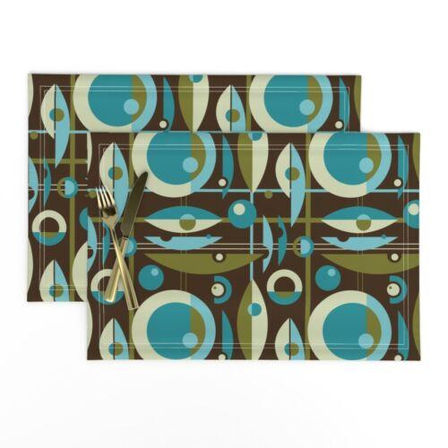 Cloth Placemats Atomic Geometric Vintage Retro Mid Century Blue Set of 2