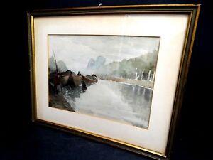 Malerei-Aquarell-Unterzeichnet-Furletti-Landschaft-Boote-Fluss-mit-Mann-Fischer