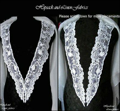 Pair White Victorian Long Venise Guipure Bridal Theatre Lace APPLIQUE Dress Trim