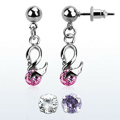 Ball Shaped Steel Helix Ear Stud w/ Dangling CZ Crystal Cute Swan 3 Colors USA